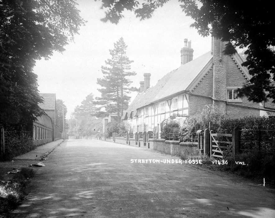 Stretton under Fosse Main Street showing cottages.  1940s |  IMAGE LOCATION: (Warwickshire County Record Office)