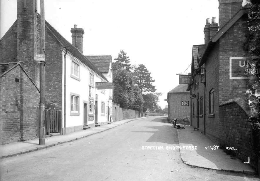 The Union Jack Inn and W. Burns shop, Stretton under Fosse.  1930s |  IMAGE LOCATION: (Warwickshire County Record Office)