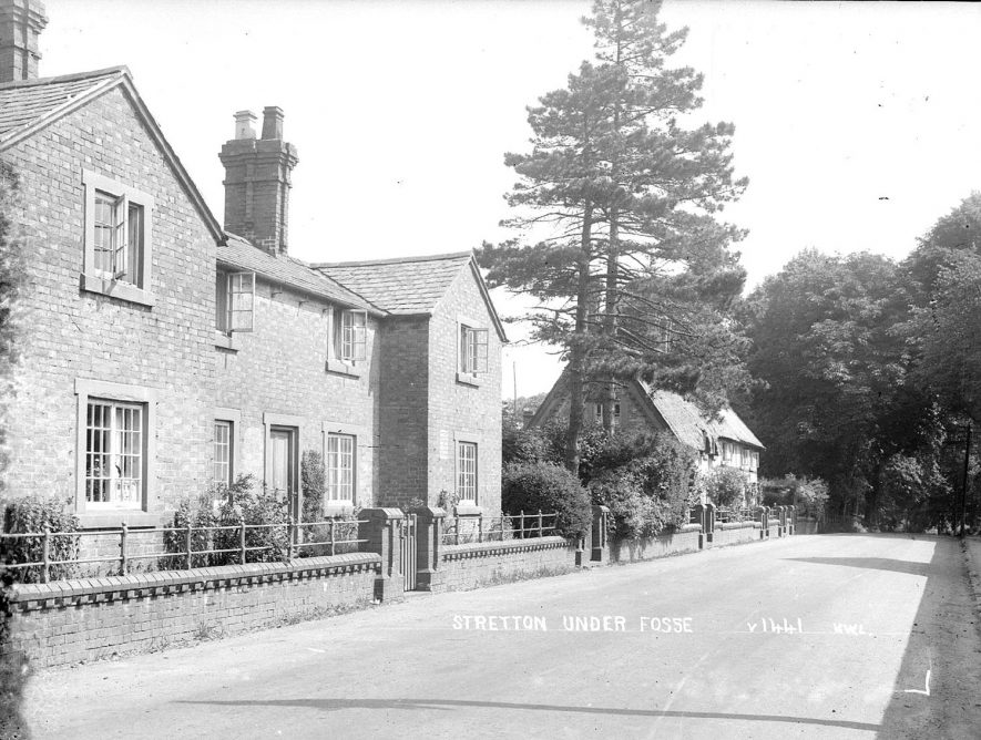 A street scene in Stretton under Fosse.  1930s    IMAGE LOCATION: (Warwickshire County Record Office)