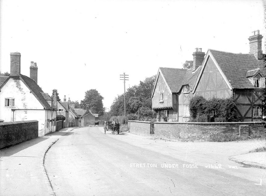 A street scene in Stretton under Fosse.  1930s |  IMAGE LOCATION: (Warwickshire County Record Office)
