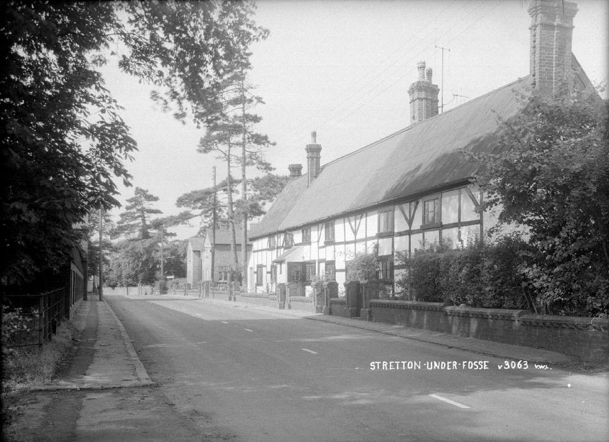 A row of half timbered cottages in Stretton under Fosse.  1960s |  IMAGE LOCATION: (Warwickshire County Record Office)