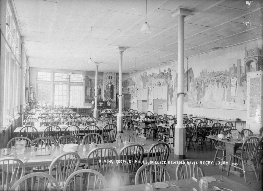 The dining room at St Paul's College, Newbold Revel, Stretton under Fosse.  1960s |  IMAGE LOCATION: (Warwickshire County Record Office)