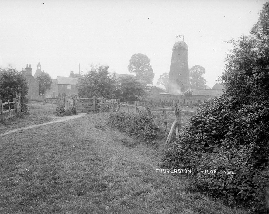 Rural view of Thurlaston with the old wind mill in the background.  1930s |  IMAGE LOCATION: (Warwickshire County Record Office)