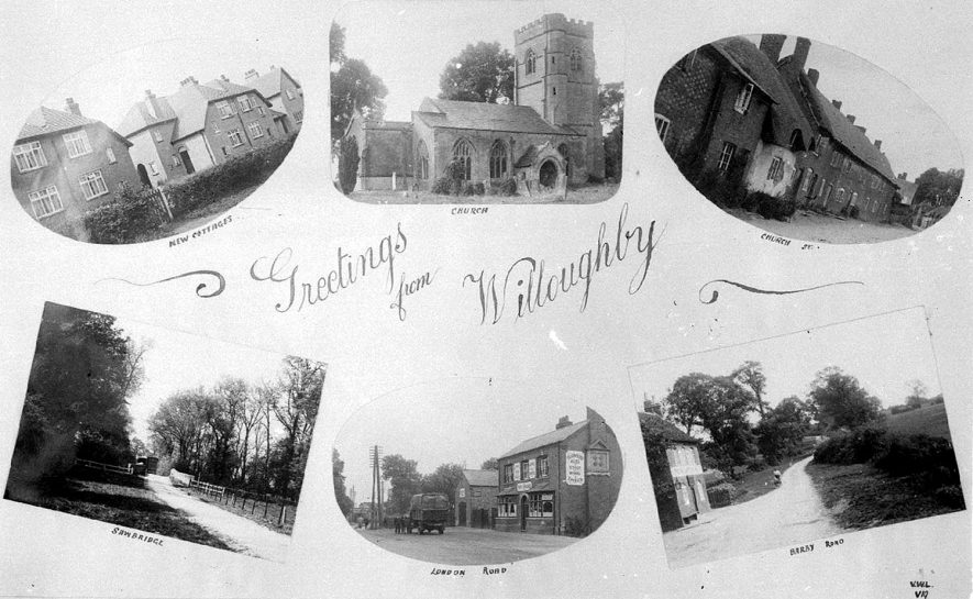 Composite views of Willoughby on a postcard.  1930s |  IMAGE LOCATION: (Warwickshire County Record Office)