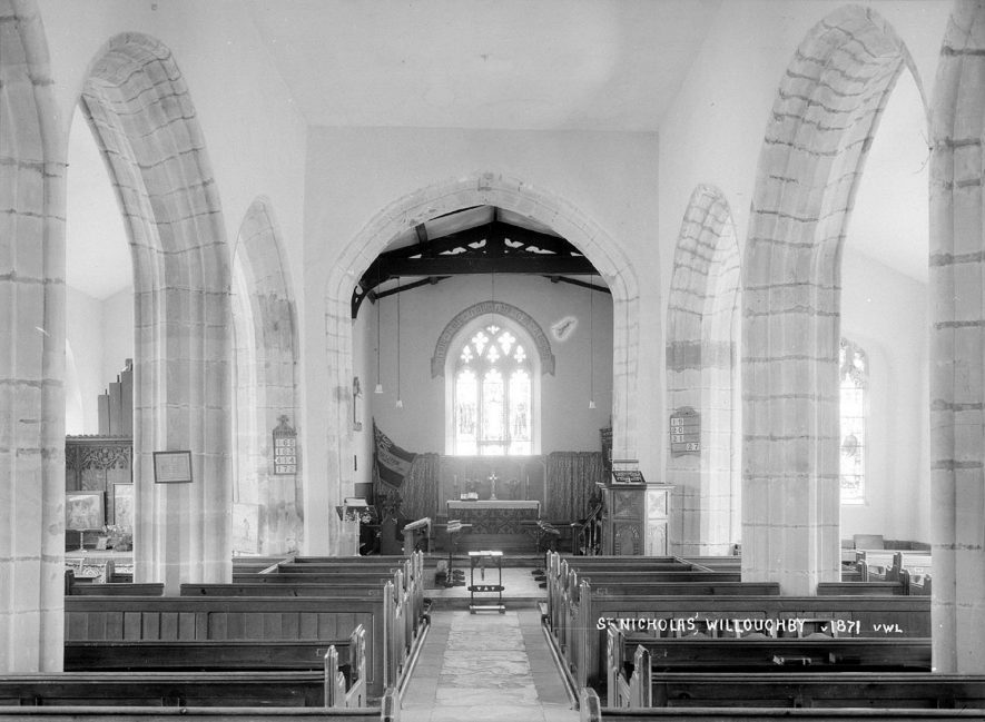 The interior of St Nicholas Church, Willoughby.  1930s |  IMAGE LOCATION: (Warwickshire County Record Office)