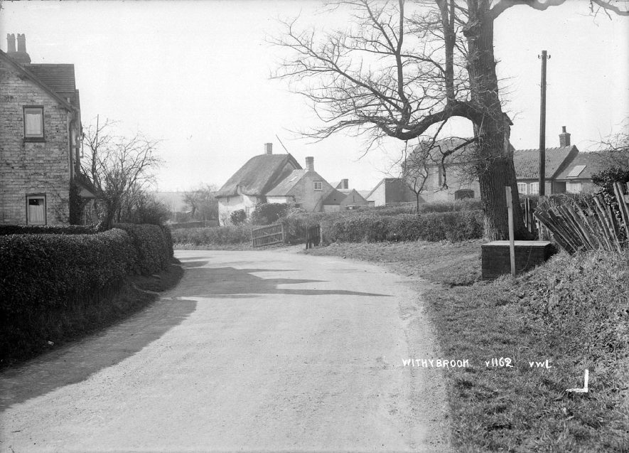 Withybrook showing a street with cottages.  1936 |  IMAGE LOCATION: (Warwickshire County Record Office)