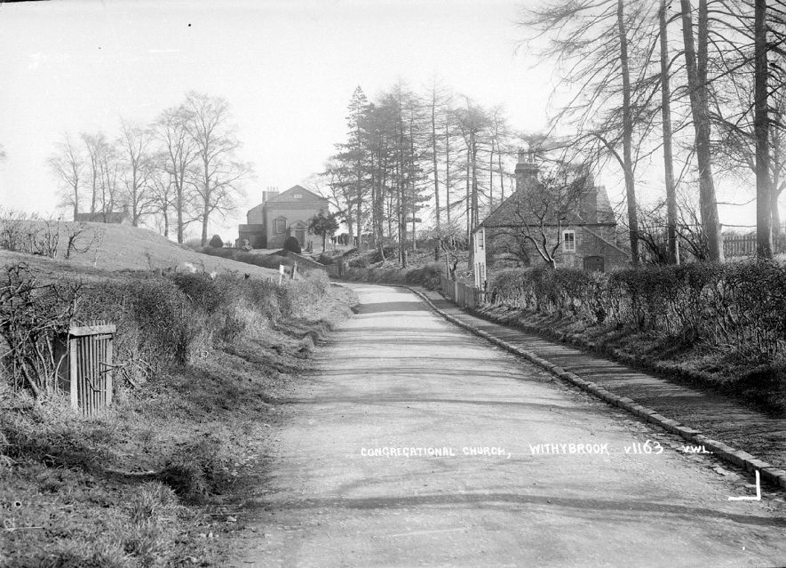 Road leading to Withybrook Congregational Church showing the church in the  distance.  1936 |  IMAGE LOCATION: (Warwickshire County Record Office)