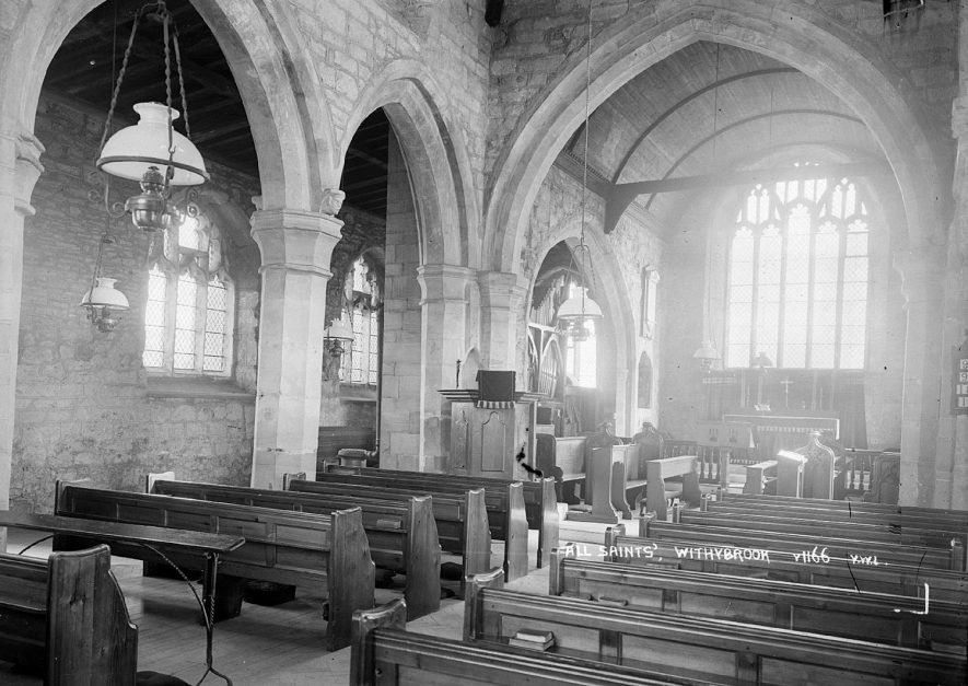 The interior of All Saints church, Withybrook.  1930s |  IMAGE LOCATION: (Warwickshire County Record Office) Mapped as All Saints, Willoughby, not Withybrook.
