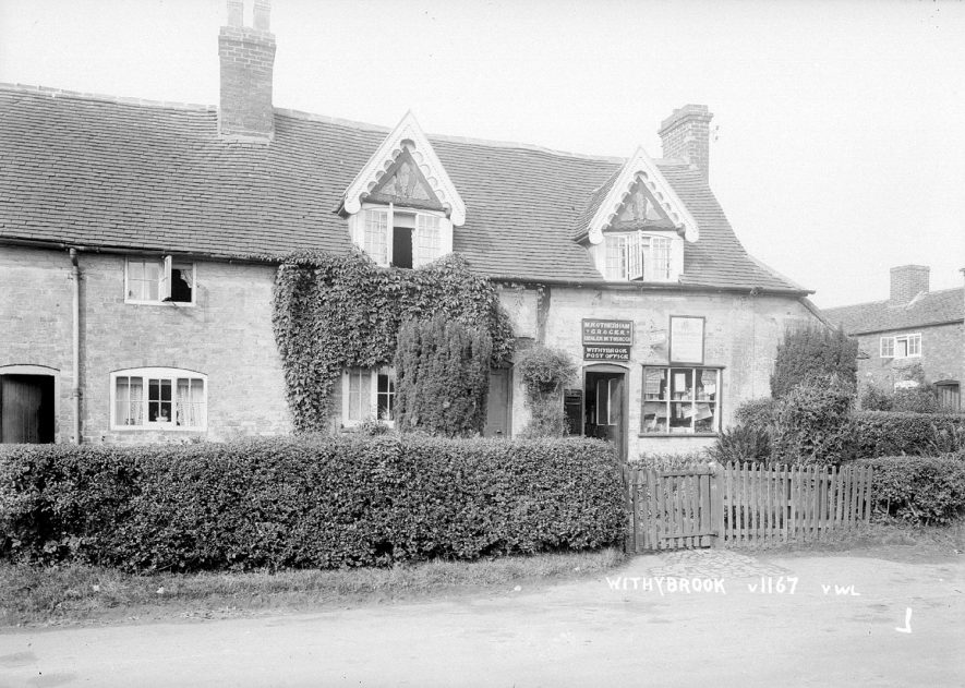 The post office and cottages in Withybrook.  1930s |  IMAGE LOCATION: (Warwickshire County Record Office)