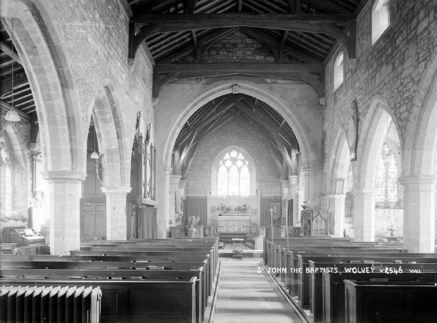 The interior of St John the Baptist church, Wolvey.  1950s |  IMAGE LOCATION: (Warwickshire County Record Office)