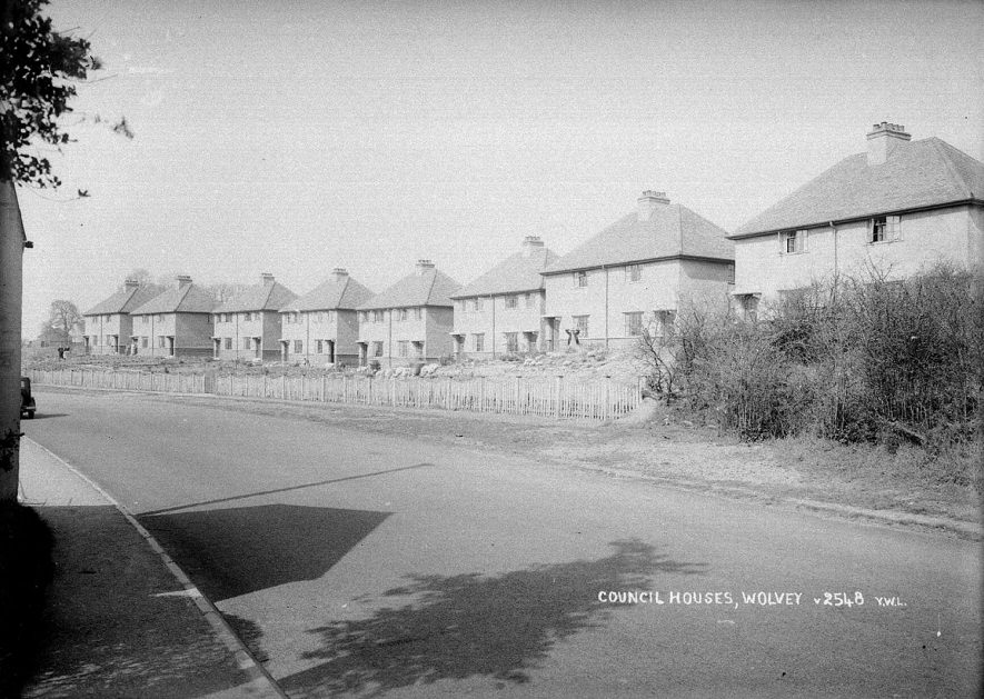 Row of semi-detached council houses in Wolvey.  1950s |  IMAGE LOCATION: (Warwickshire County Record Office)