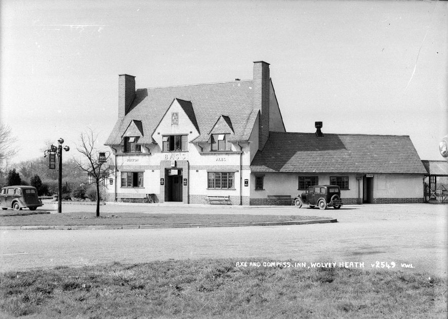 The Axe and Compass Inn, Wolvey Heath, Wolvey.  1950s |  IMAGE LOCATION: (Warwickshire County Record Office)