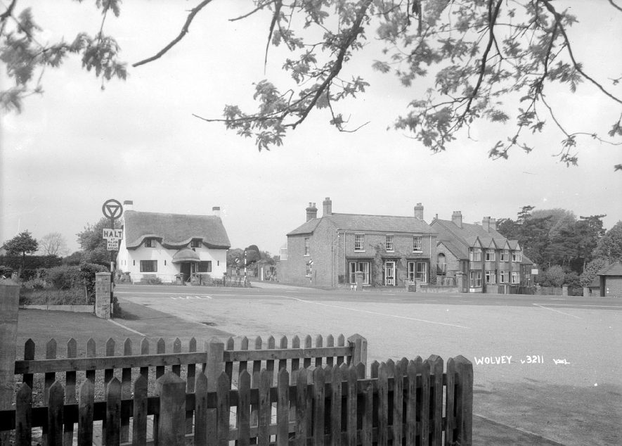A village view of cottages in Wolvey.  1960s |  IMAGE LOCATION: (Warwickshire County Record Office)