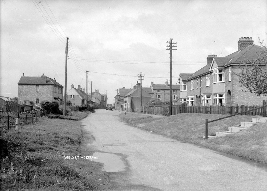 An unidentified road in Wolvey.(Wolvey Lane looking towards The Square)  1960s |  IMAGE LOCATION: (Warwickshire County Record Office)