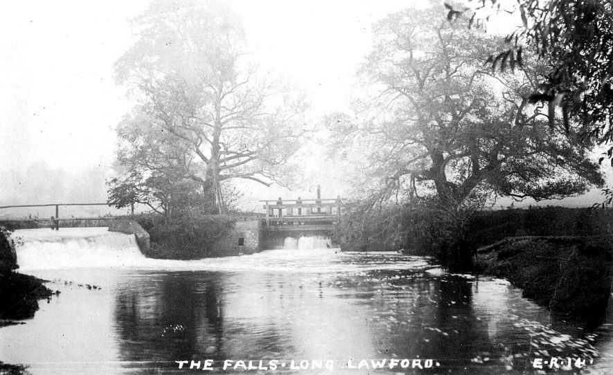 The Falls at Long Lawford, presumably on the River Avon.  1900s |  IMAGE LOCATION: (Warwickshire County Record Office)