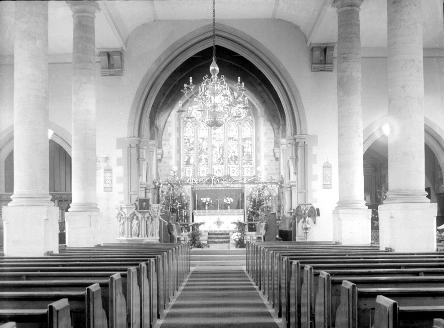Alcester Parish Church interior looking east.  1930s