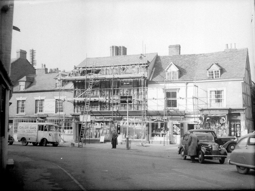 The bunting shop in the High Street, Alcester.  1940s    IMAGE LOCATION: (Warwickshire County Record Office)