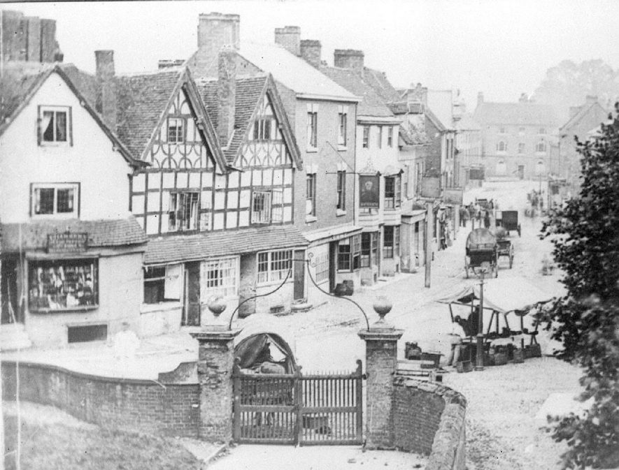 A view of the High Street, Alcester, taken from the church tower. This is taken from a photo of c.1860. |  IMAGE LOCATION: (Warwickshire County Record Office)