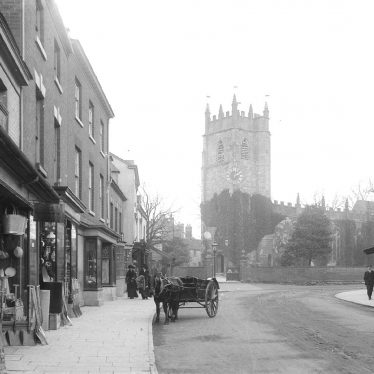 Alcester.  High Street and St Nicholas Church