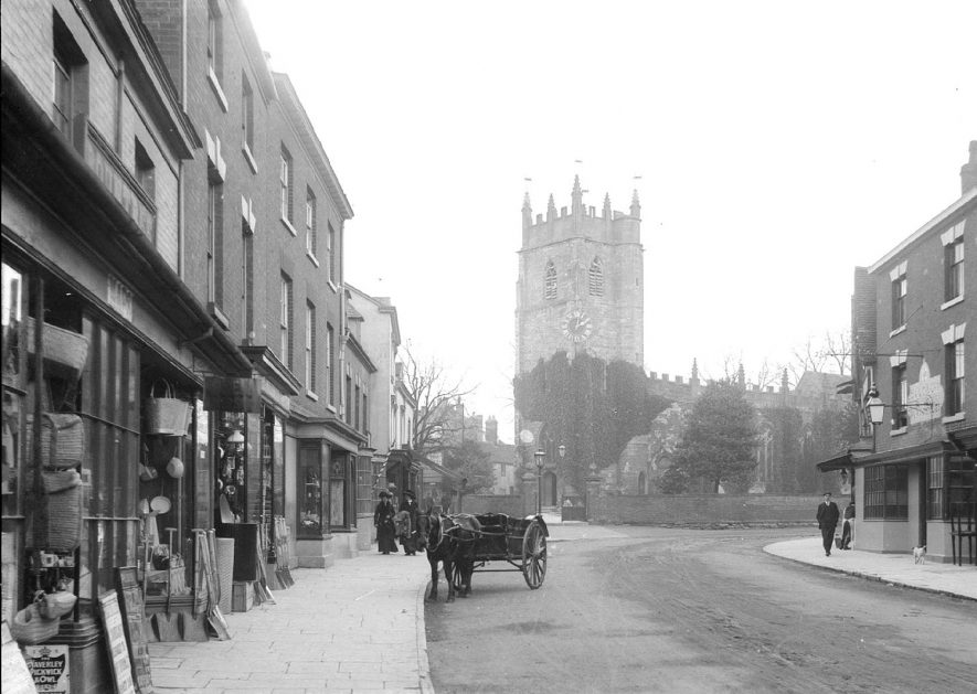 High Street, Alcester, looking towards the church.  1920s |  IMAGE LOCATION: (Warwickshire County Record Office)