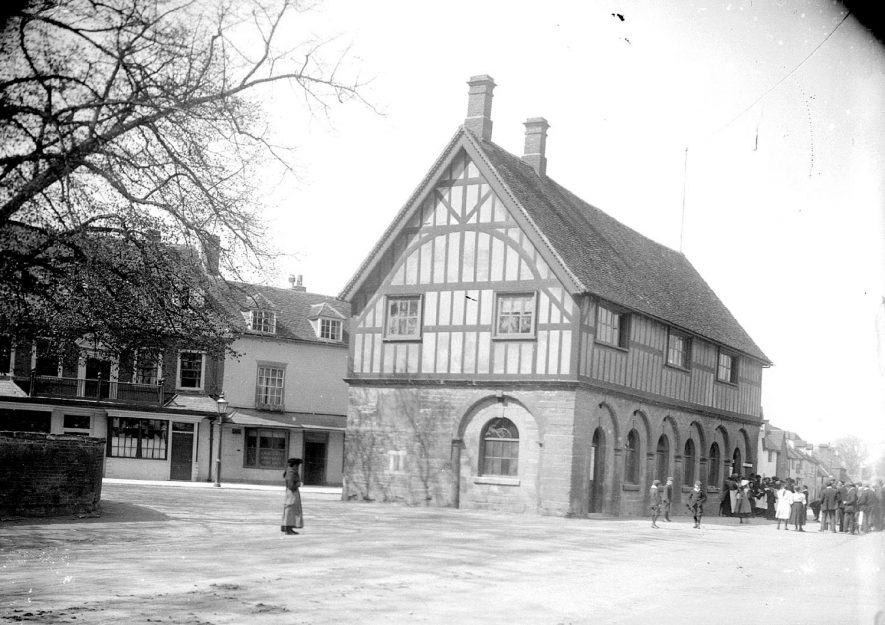 The multi- arched and timber framed Town Hall in Market Place, Alcester.  1920s |  IMAGE LOCATION: (Warwickshire County Record Office)
