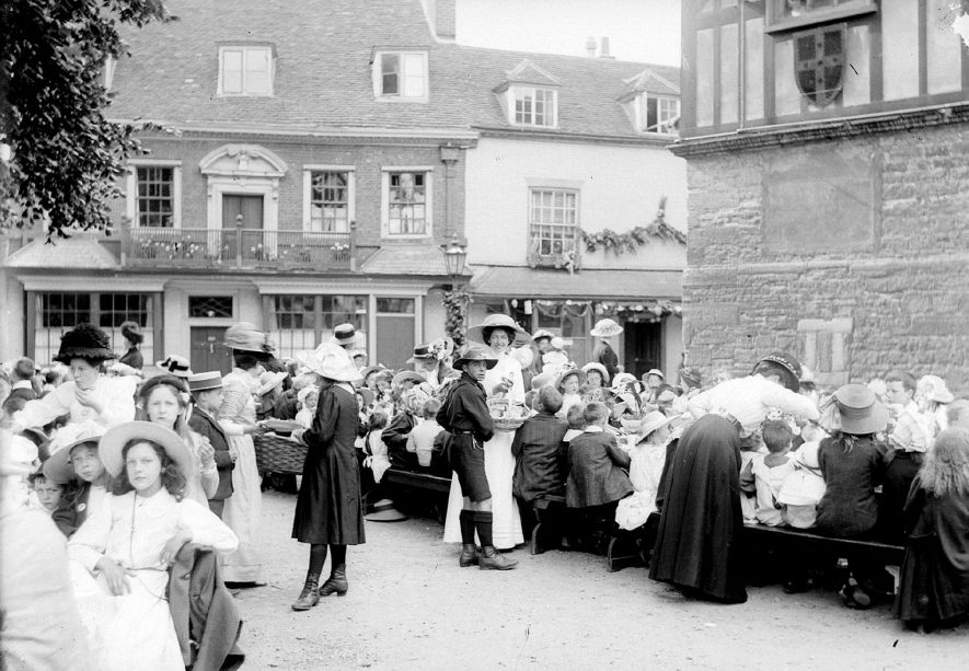 Celebrations beside the Town Hall, Alcester.  1900s |  IMAGE LOCATION: (Warwickshire County Record Office)