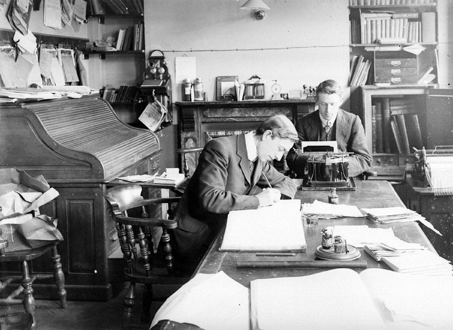 Interior of an office in Alcester, neither business nor personalities are known.  1930s |  IMAGE LOCATION: (Warwickshire County Record Office)