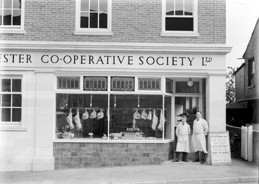 Studley Co-op Society butchers shop, a branch of the Alcester Co-operative Society Ltd. at 6 High Street, Studley  1940s |  IMAGE LOCATION: (Warwickshire County Record Office)