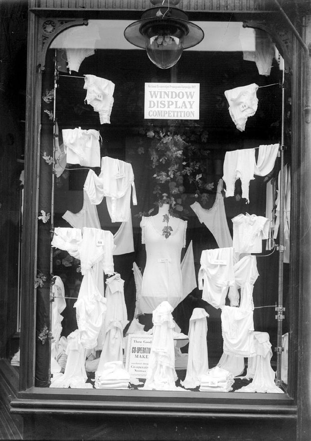 Alcester Shop window competition, showing lingerie.  1927 |  IMAGE LOCATION: (Warwickshire County Record Office)