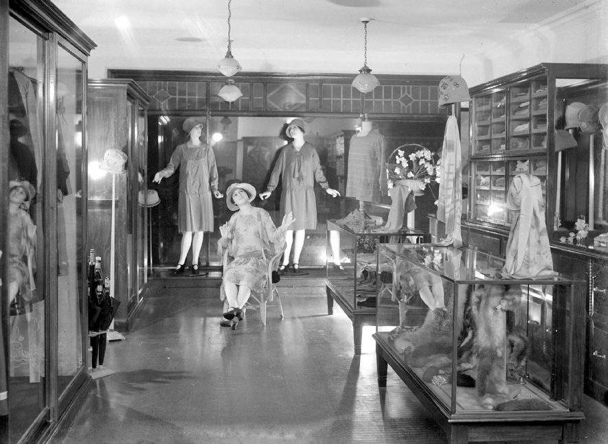 Interior of ladies'  fashion shop in Alcester.  1930s |  IMAGE LOCATION: (Warwickshire County Record Office)