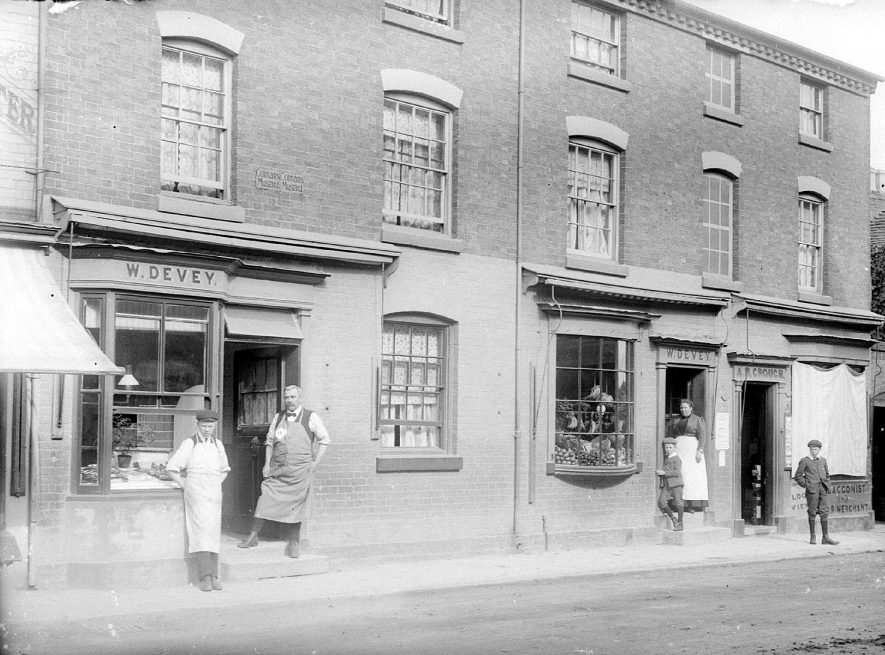 Shops of W. Devey in Swan Street, Alcester.  1920s |  IMAGE LOCATION: (Warwickshire County Record Office)