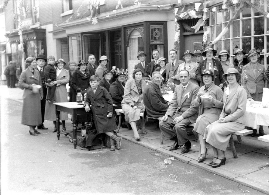 A street party outside a public house, Alcester.  1930s |  IMAGE LOCATION: (Warwickshire County Record Office)