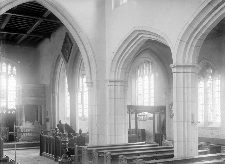 Interior of Coughton Church of England.  1930s    IMAGE LOCATION: (Warwickshire County Record Office)