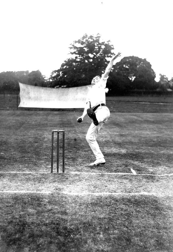 A bowler in action in a cricket match, Alcester.  1930s |  IMAGE LOCATION: (Warwickshire County Record Office)