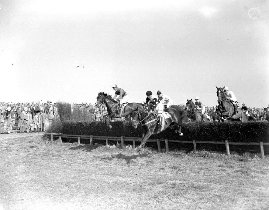 A steeple chase at Alcester.  1940s |  IMAGE LOCATION: (Warwickshire County Record Office)