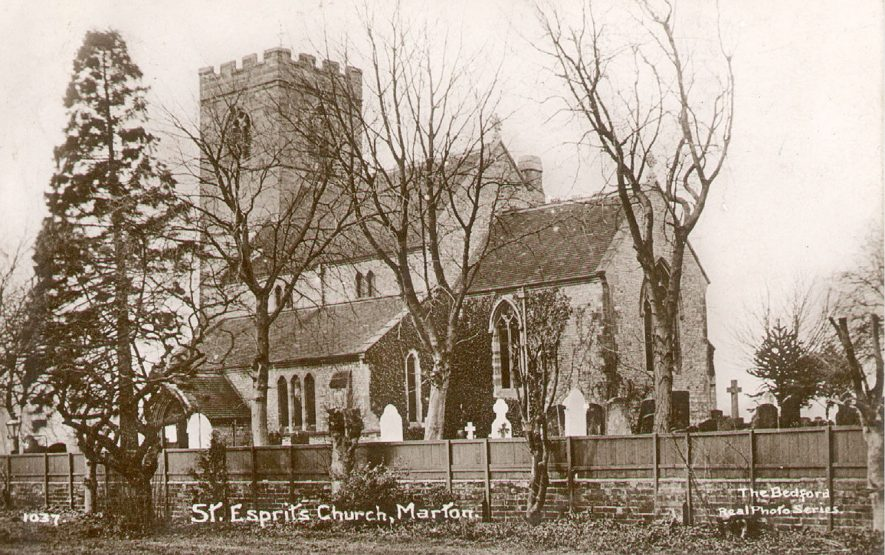 View of the exterior of St Esprit's Church, Marton. 1910s.  In the Middle Ages the church was appropriated by a French Order of Nuns in Nuneaton who dedicated it to the Holy Spirit, hence the strange, probably unique, name. |  IMAGE LOCATION: (Warwickshire County Record Office)