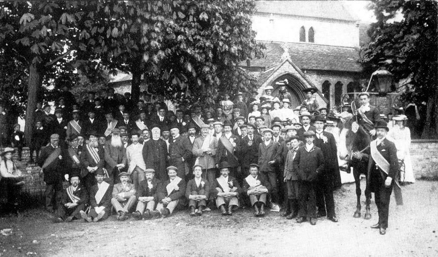 Oddfellows' parade assembled outside Marton church.  1900s |  IMAGE LOCATION: (Warwickshire County Record Office)