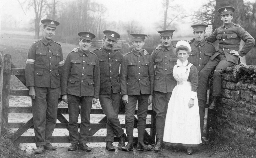 Group of soldiers with nurse, Lower Brailes.  1914-18 |  IMAGE LOCATION: (Warwickshire County Record Office)