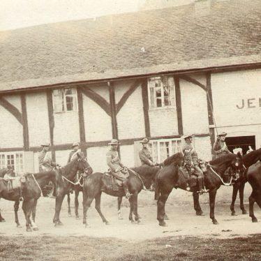 Wolston.  Yeomanry Cavalry outside Jensons