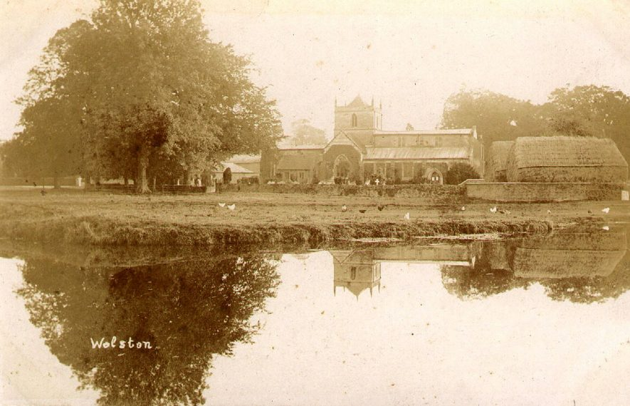Looking across the river to St Margaret's church, Wolston.  1900s |  IMAGE LOCATION: (Warwickshire County Record Office)