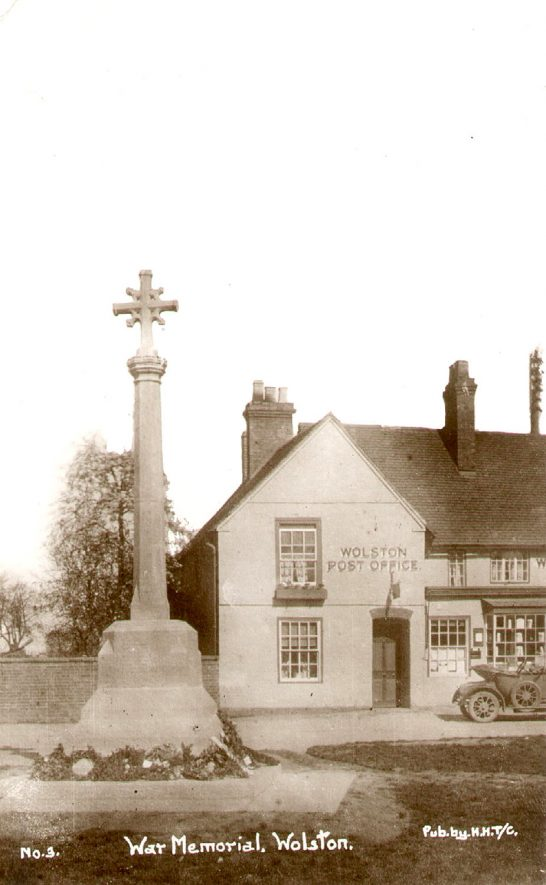 The war memorial and post office, Wolston.  1920s |  IMAGE LOCATION: (Warwickshire County Record Office)