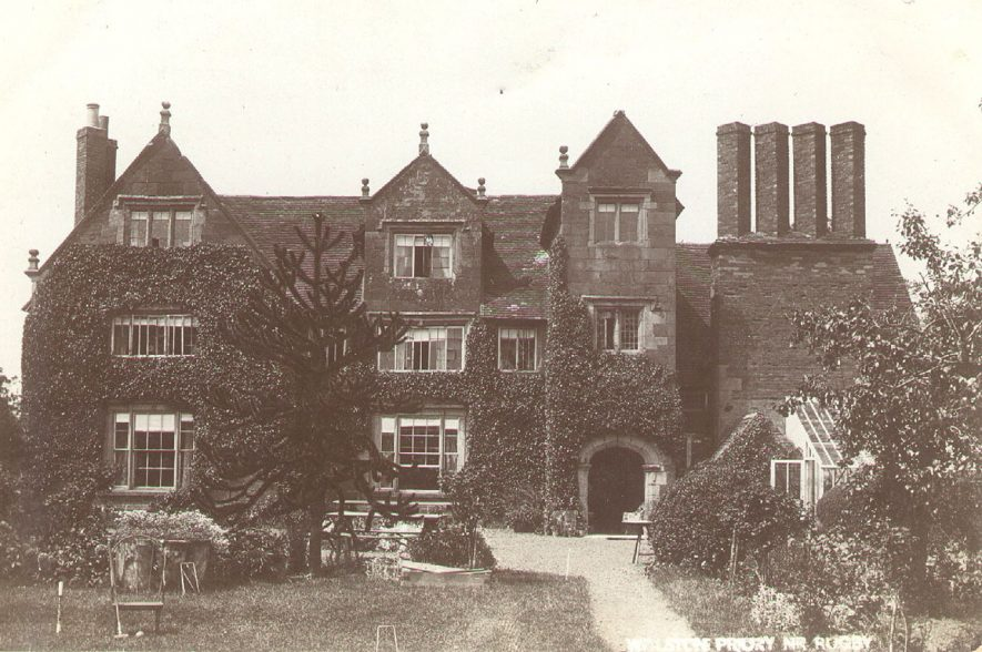 The Priory, Wolston, with edge of croquet lawn in front.  1900s |  IMAGE LOCATION: (Warwickshire County Record Office)