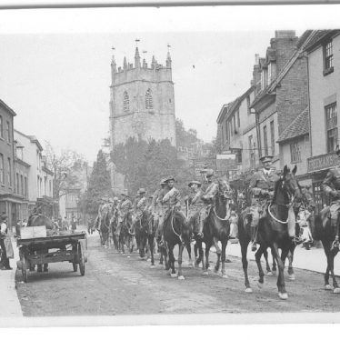 Alcester.  Soldiers on horseback
