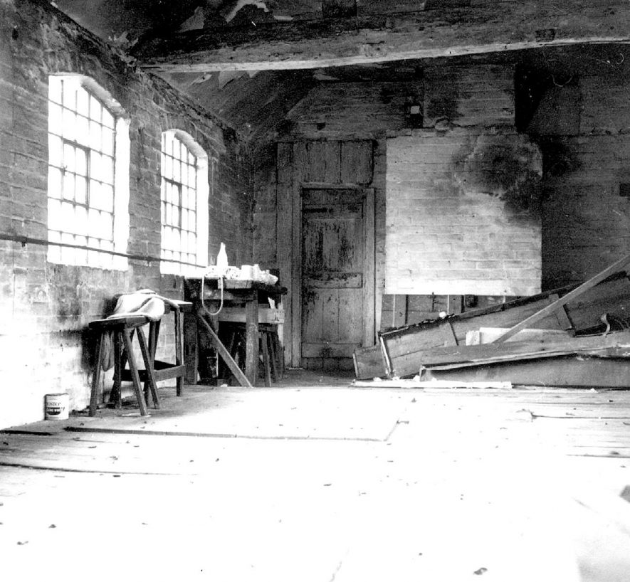 Interior of the derelict bodkin factory in Malt Mill Lane, Alcester.  1967 |  IMAGE LOCATION: (Warwickshire County Record Office)