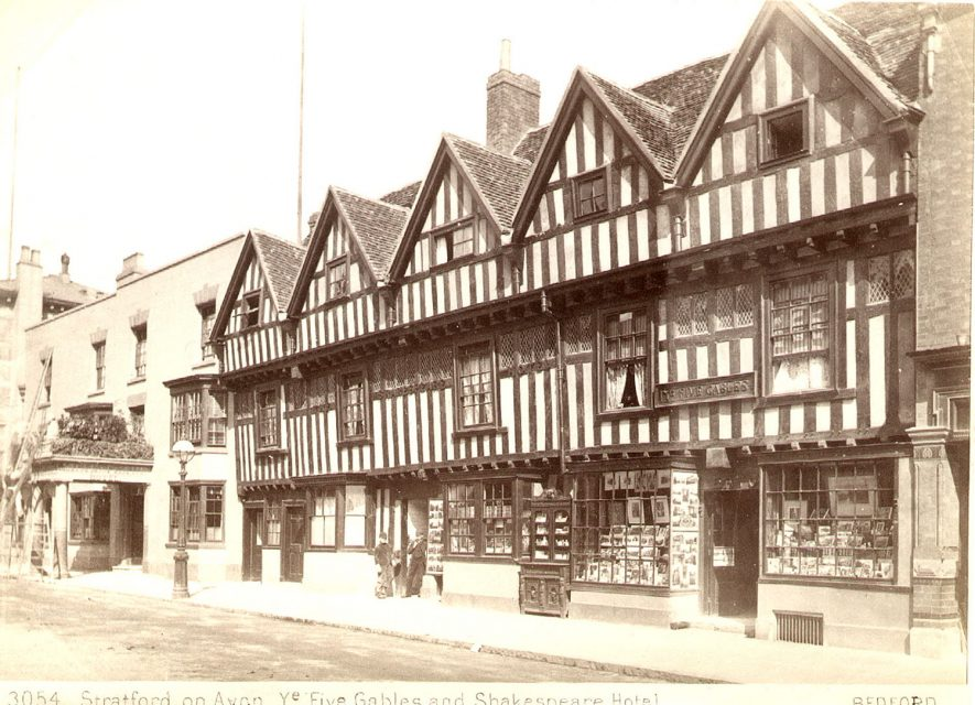 Five Gables and the Shakespeare Hotel, Chapel Street, Stratford upon Avon.  1880s |  IMAGE LOCATION: (Warwickshire County Record Office)