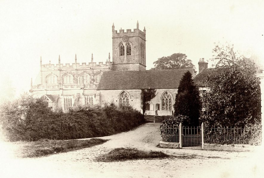 Exterior of St Peter's church, Wootton Wawen.  1900s |  IMAGE LOCATION: (Warwickshire County Record Office)