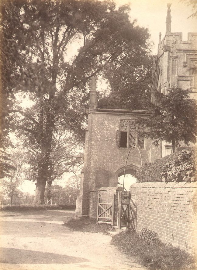 Main porch of the church, Lapworth.  1880s |  IMAGE LOCATION: (Warwickshire County Record Office)