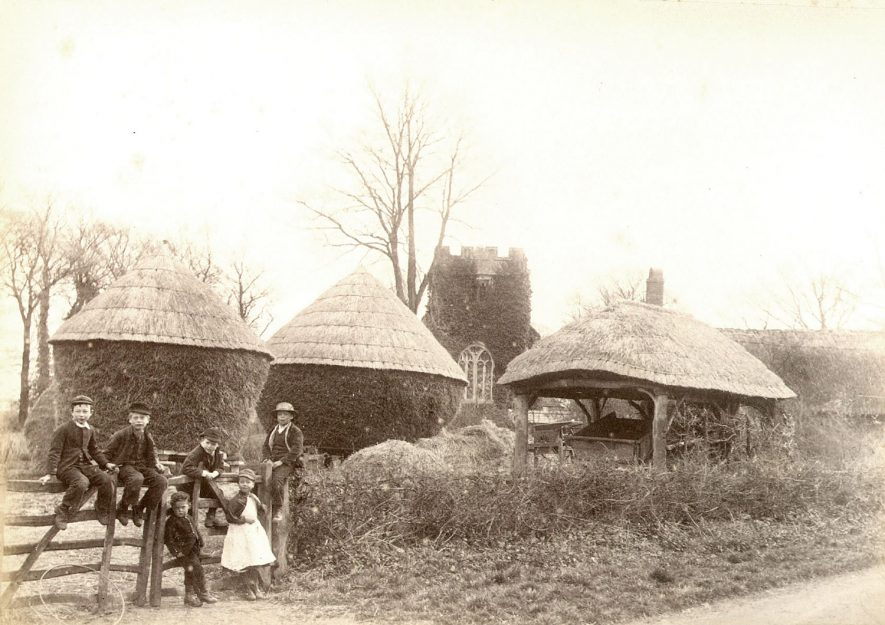 Thatched haystacks and barn, with group of children sitting on a gate, Weston on Avon.  1890s |  IMAGE LOCATION: (Warwickshire County Record Office)