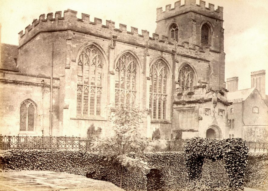 The Guildhall Chapel from New Place, Stratford upon Avon.  1890s |  IMAGE LOCATION: (Warwickshire County Record Office)