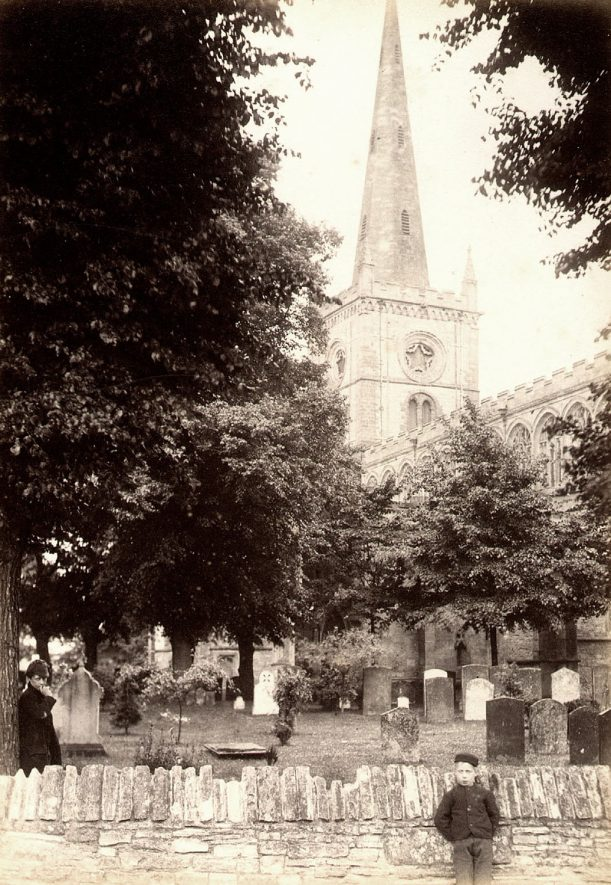 Holy Trinity Church and churchyard, Stratford upon Avon.  1890s |  IMAGE LOCATION: (Warwickshire County Record Office)